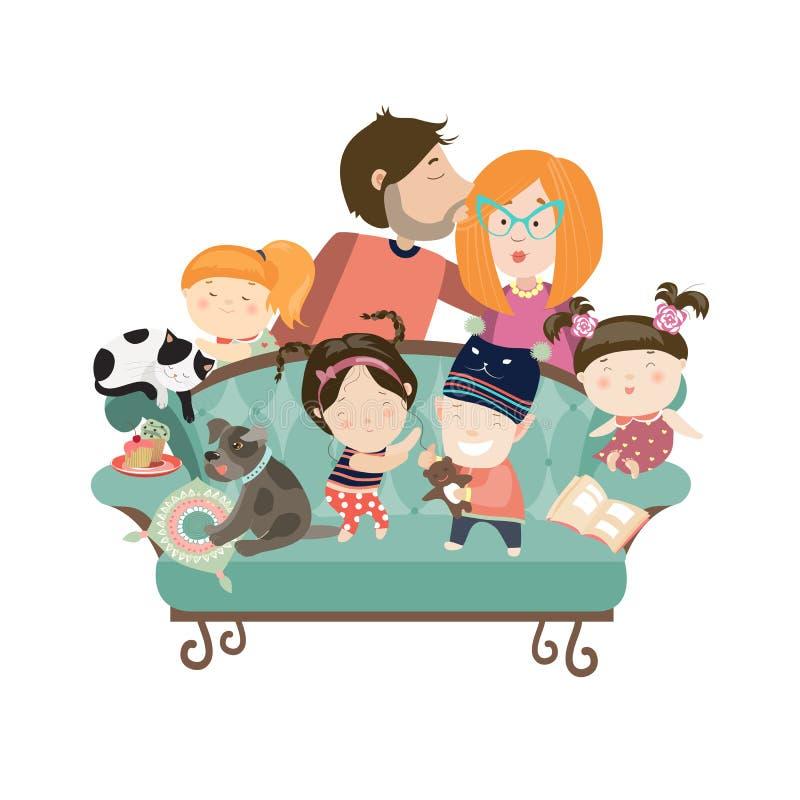 Lyckliga ungar med föräldrar och husdjur royaltyfri illustrationer