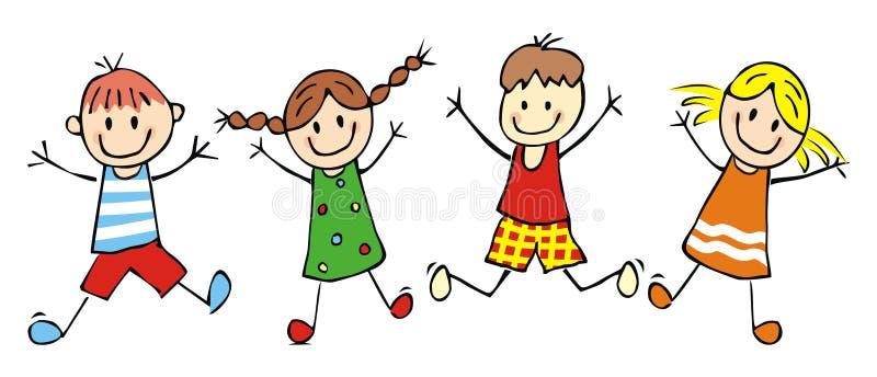 Lyckliga ungar och att hoppa flickor och pojkar, rolig vektorillustration vektor illustrationer