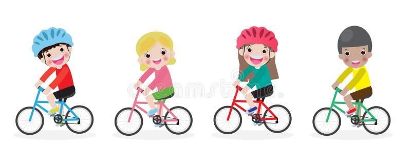Lyckliga ungar p? cyklar, barnridningcykel, ungar som rider cyklar, barnridningcykel, barn p? cykelvektor p? vit bakgrund, d?ligt royaltyfri illustrationer