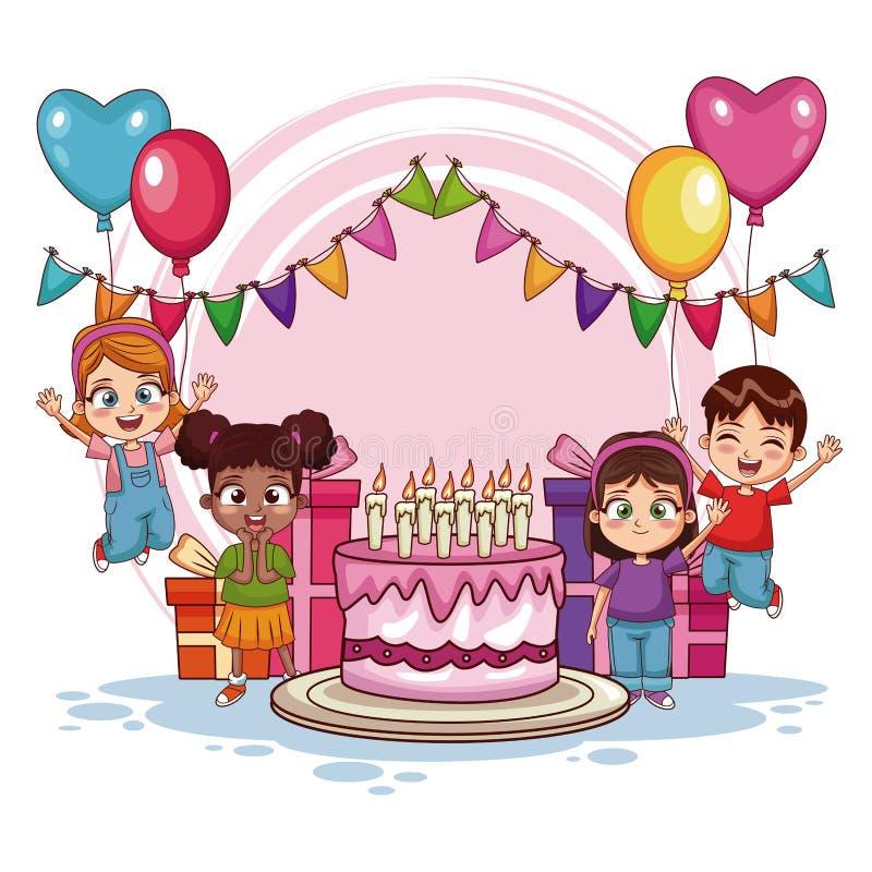 Lyckliga ungar på födelsedagpartiet vektor illustrationer