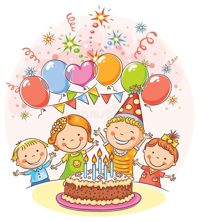 Lyckliga ungar på födelsedagpartiet stock illustrationer