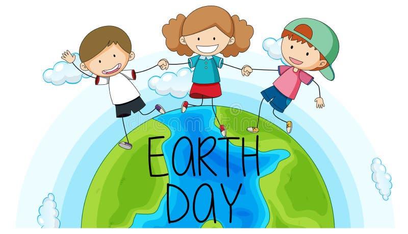 Lyckliga ungar på jordklotet vektor illustrationer