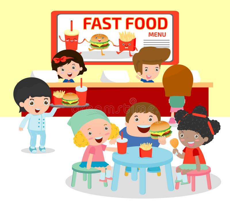 Lyckliga ungar som äter en hamburgare och fransmansmåfiskar i en snabbmatrestaurang, atmosfären inom snabbmatrestaurangen, lurar  vektor illustrationer