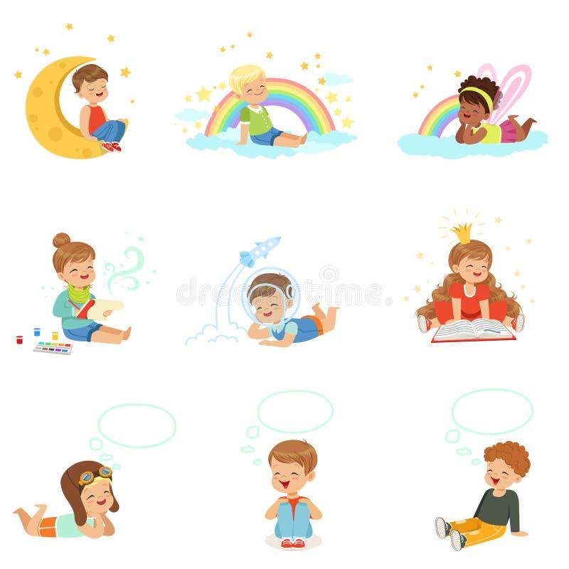 Lyckliga ungar som drömmer och fantiserar Detaljerade färgrika illustrationer för tecknad film stock illustrationer