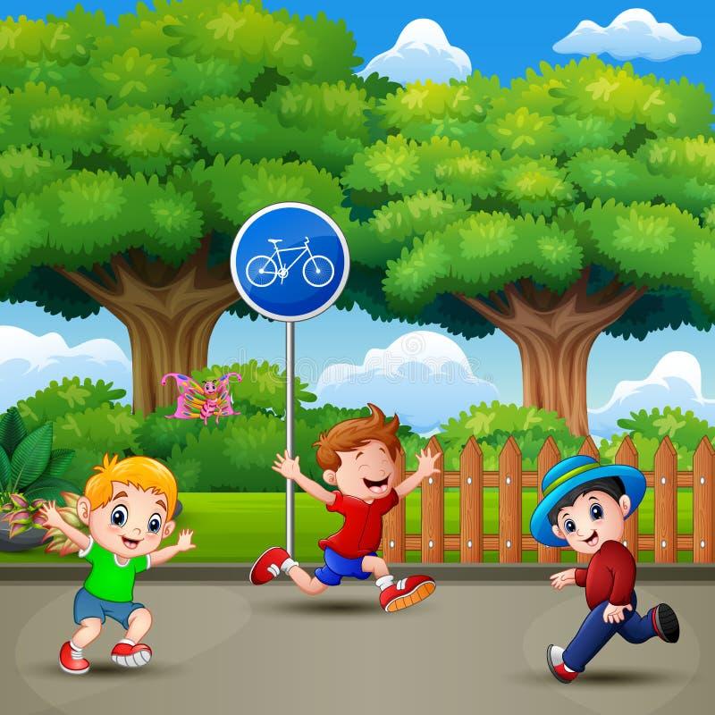 Lyckliga ungar som kör och spelar i staden, parkerar stock illustrationer