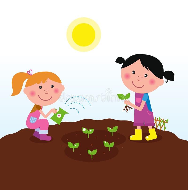 lyckliga ungar som planterar växter två som bevattnar stock illustrationer