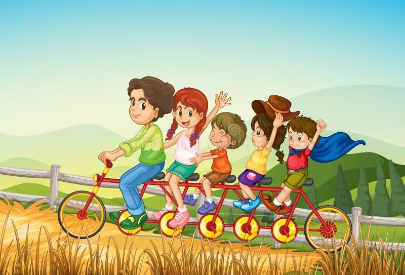 Lyckliga ungar som rider cykeln på lantgården royaltyfri illustrationer