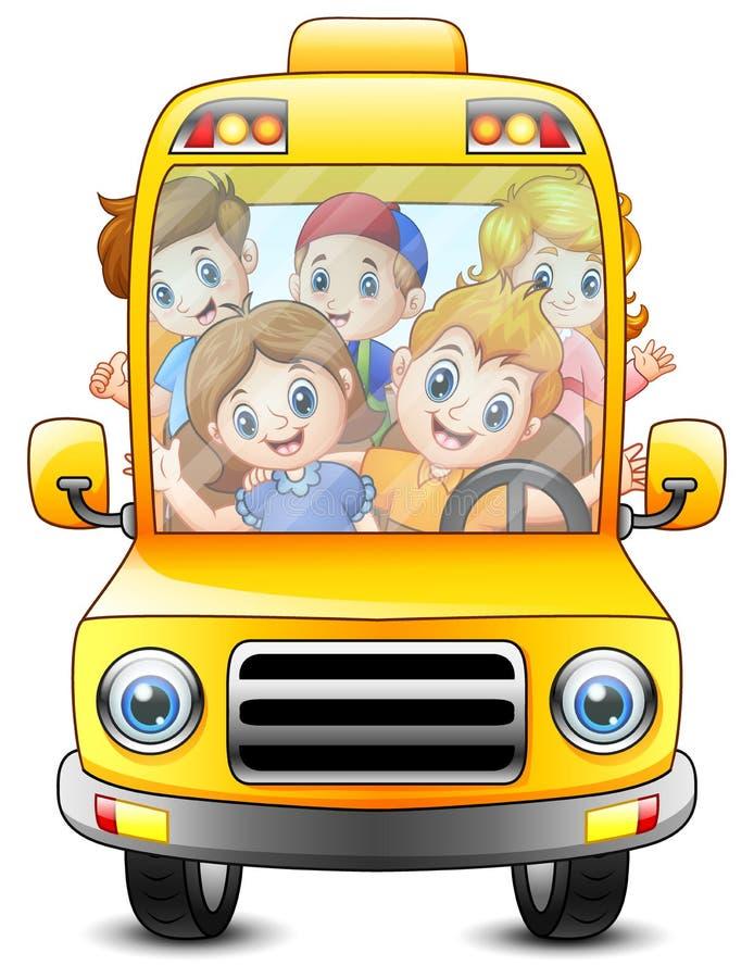 Lyckliga ungar som rider med en buss vektor illustrationer