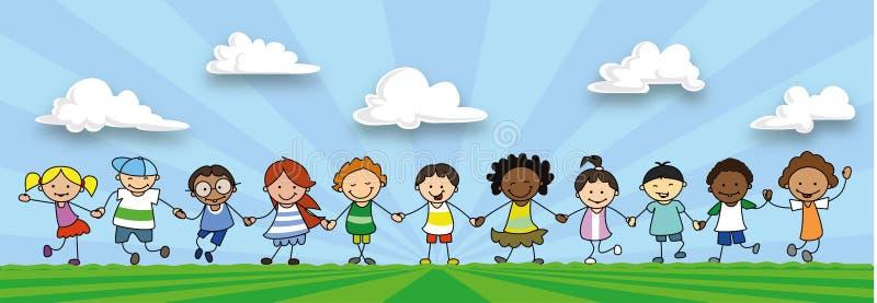 Lyckliga ungar som rymmer händer, barn som spelar på äng vektor illustrationer
