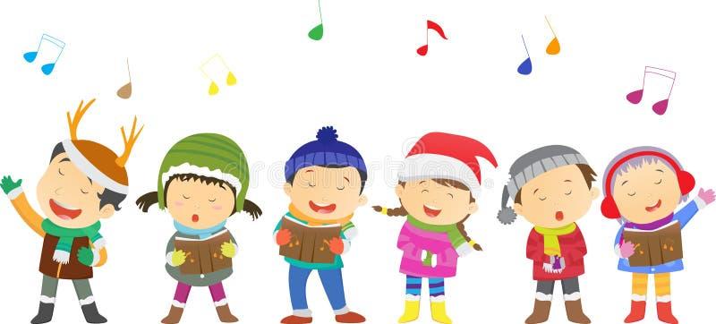 Lyckliga ungar som sjunger julsånger stock illustrationer