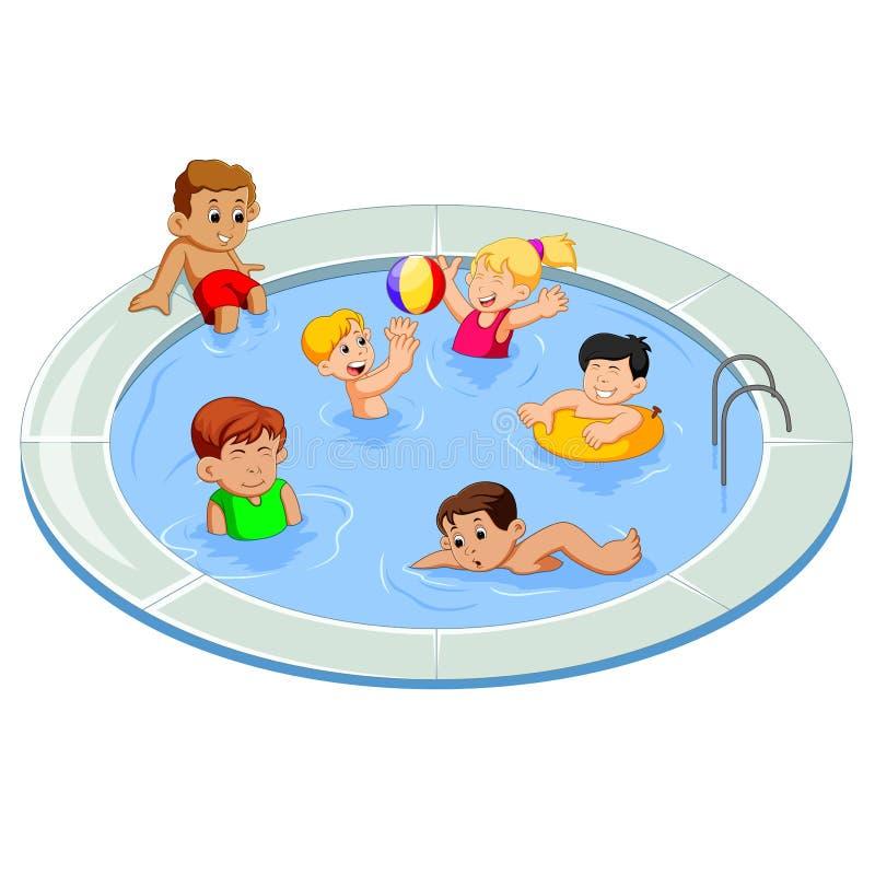 Lyckliga ungar som spelar i en utomhus- simbassäng royaltyfri illustrationer