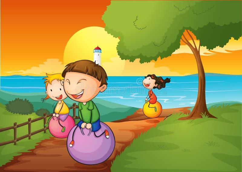 Lyckliga ungar som spelar med de studsa bollarna stock illustrationer
