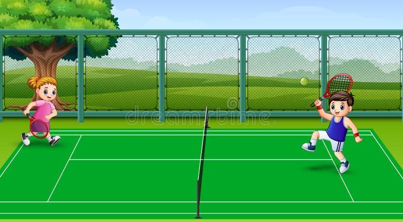 Lyckliga ungar som spelar tennis på domstolarna vektor illustrationer