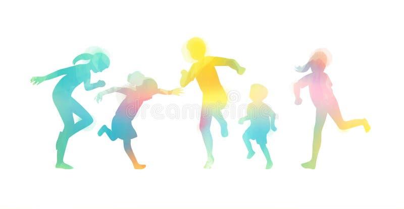 Lyckliga ungar som spelar tillsammans isolerat på vit bacground Lycklig dag för barn` s stock illustrationer