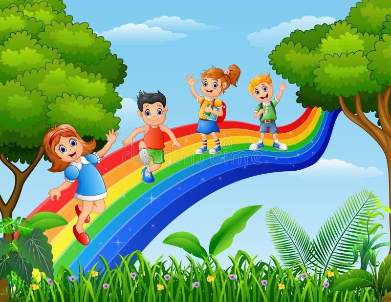 Lyckliga ungar som står över regnbågen royaltyfri illustrationer
