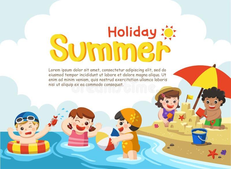 Lyckliga ungar spelar och simmar på stranden stock illustrationer