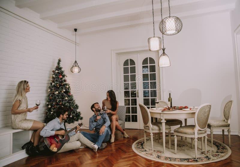 Lyckliga ungdomarsom firar jul arkivbild