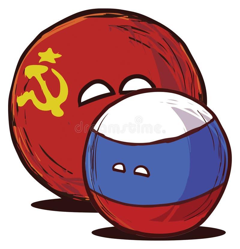 Lyckliga USSR och RYSSLAND tillsammans vektor illustrationer
