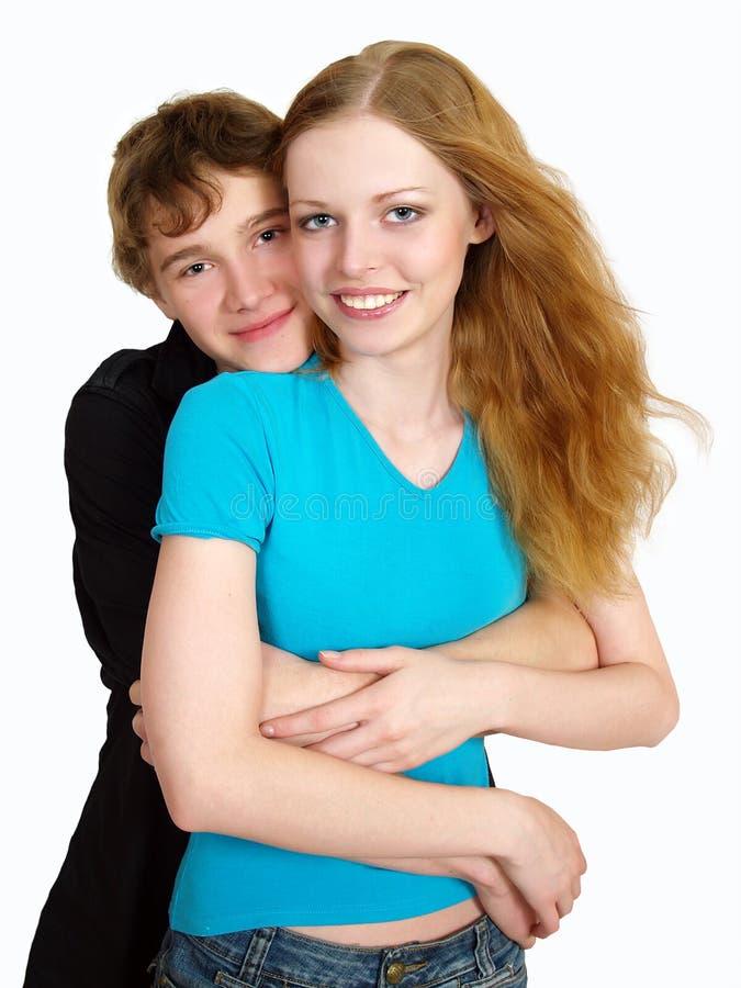 lyckliga vänner för härliga par royaltyfri bild