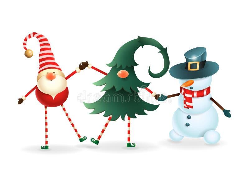 Lyckliga vänner firar jul - skandinavisk gnom, dold gnom i julträd och snögubbe royaltyfri illustrationer