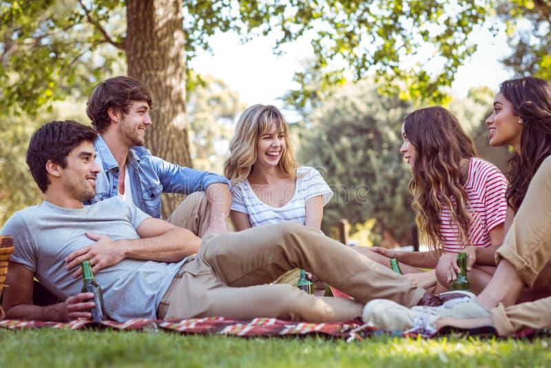 Lyckliga vänner i parkera som har picknicken royaltyfria foton