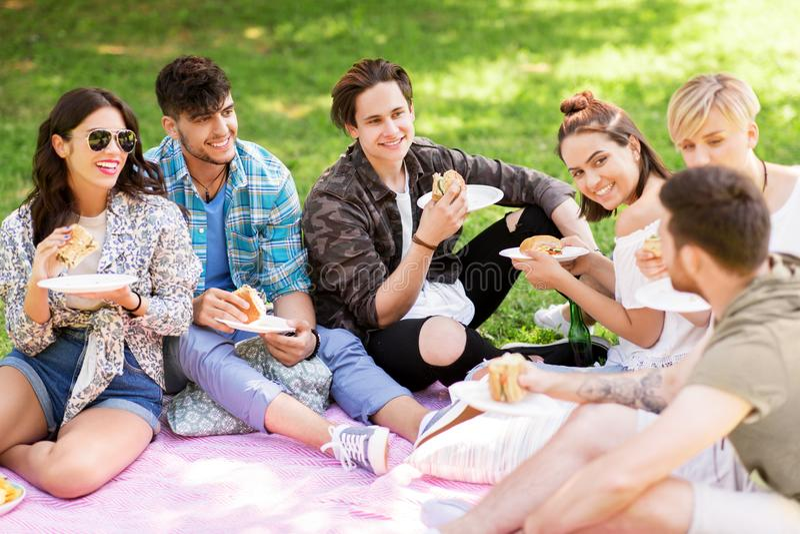 Lyckliga vänner som äter smörgåsar på sommarpicknicken royaltyfri foto