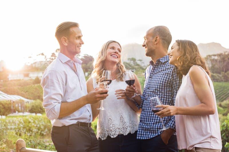 Lyckliga vänner som dricker vin arkivbild