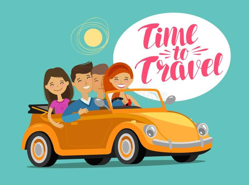 Lyckliga vänner som rider den retro bilen på resa för dublin för bilstadsbegrepp litet lopp översikt Rolig tecknad filmvektorillu royaltyfri illustrationer