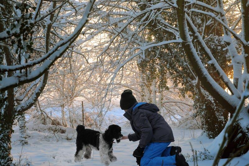 Lyckliga vänner som spelar i i snö arkivbild