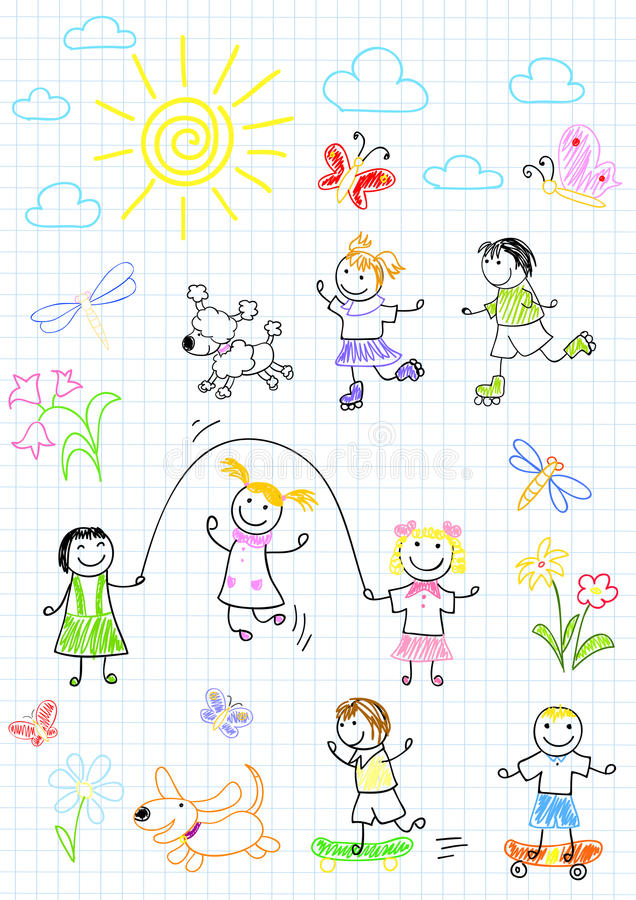 Lyckliga vänner som utomhus spelar royaltyfri illustrationer