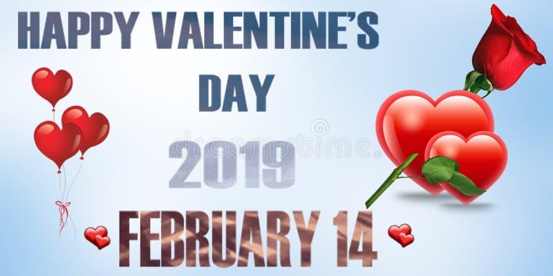 Lyckliga valentin dag 2019 stock illustrationer