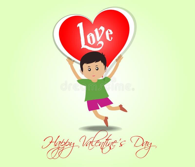 Lyckliga valentin dag med ungar och hjärta royaltyfri illustrationer