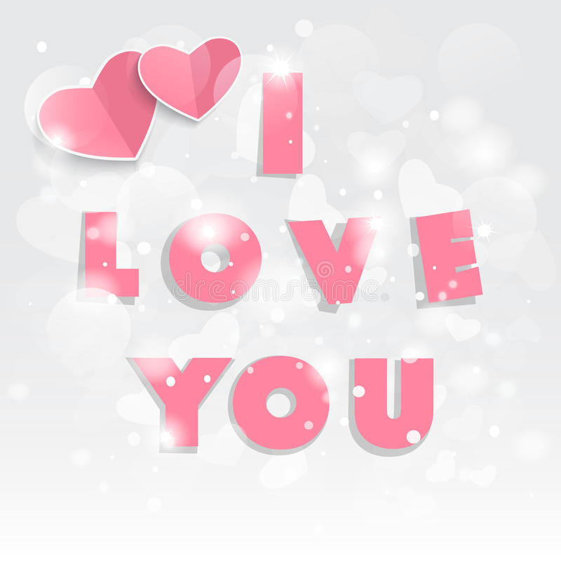 Lyckliga valentin dag! Röda hjärtor och text älskar jag dig royaltyfri illustrationer