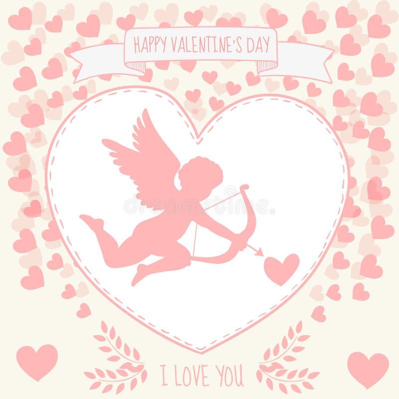 Lyckliga valentin dag som gritting kortet Gullig kupidon siktar i hjärtan royaltyfri illustrationer