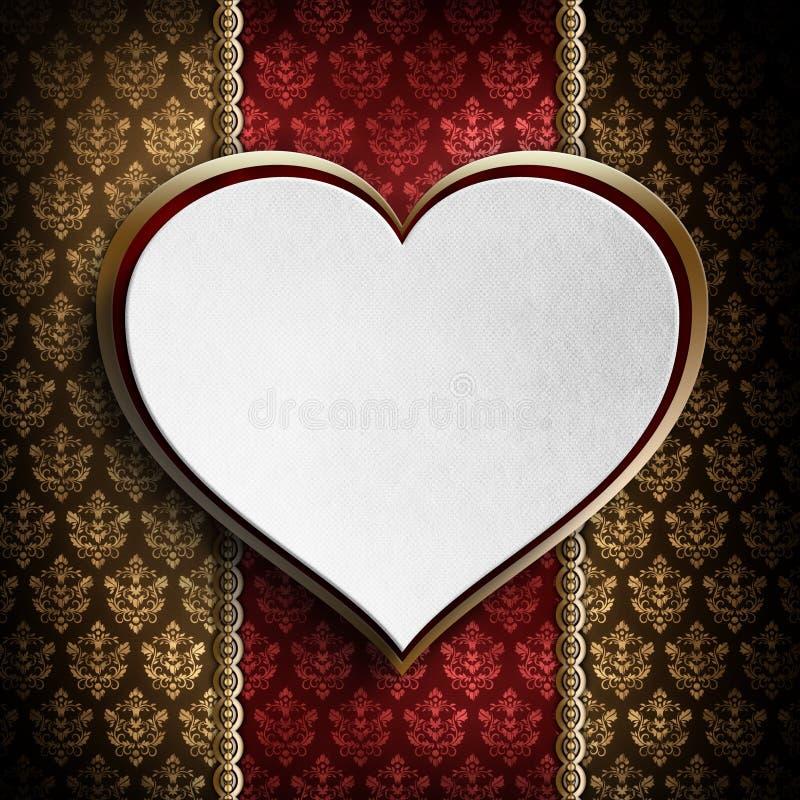 Lyckliga valentin dag - vit hjärta royaltyfri illustrationer