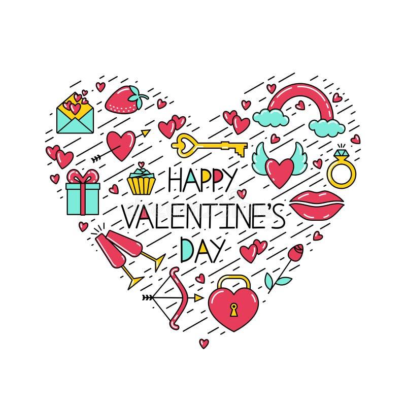 Lyckliga valentin för inskrift dag med symboler och svarta linjer som ordnas i formen av en hjärta stock illustrationer