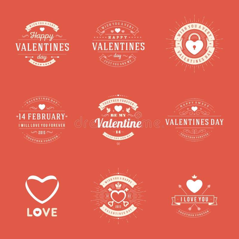 Lyckliga valentin kort för daghälsningar, etiketter royaltyfri illustrationer