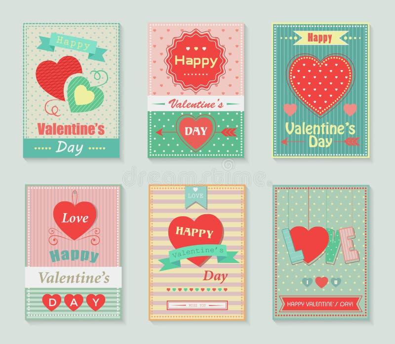 Lyckliga valentindagkort stock illustrationer