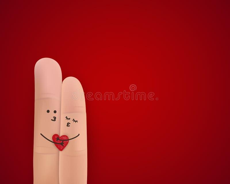 lyckliga valentiner för dag Begrepp för dag för StValentine ` s med lyckliga par för fingerkonst som kramar på ljus röd bakgrund  vektor illustrationer