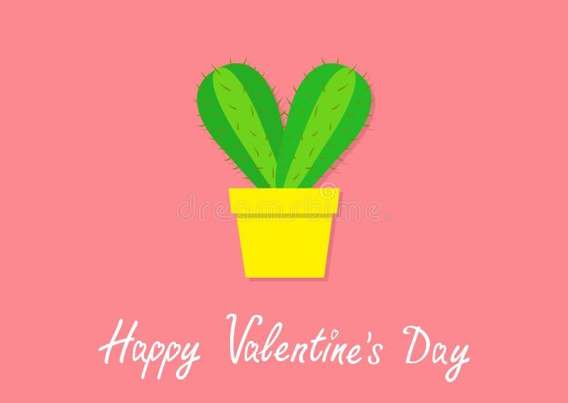 lyckliga valentiner för dag Kaktushjärtasymbol i blomkruka Taggig taggig växt för öken prikly Minsta plan design Ljust - grön hou stock illustrationer