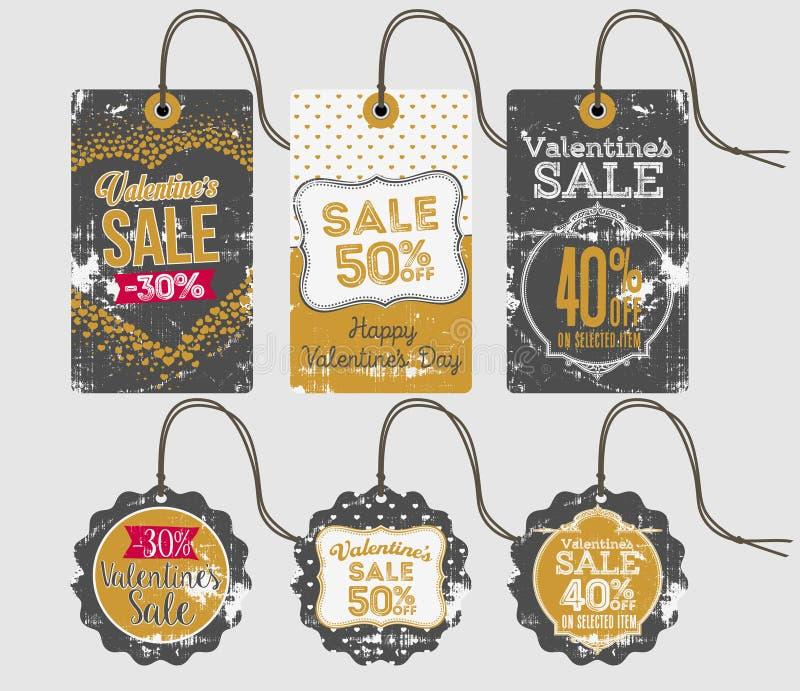 Lyckliga valentins dag Sale märker och etiketter royaltyfri illustrationer