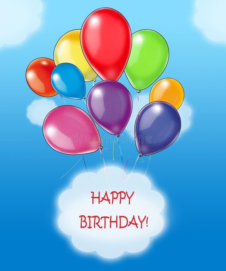 lyckliga wishes för födelsedag royaltyfri illustrationer