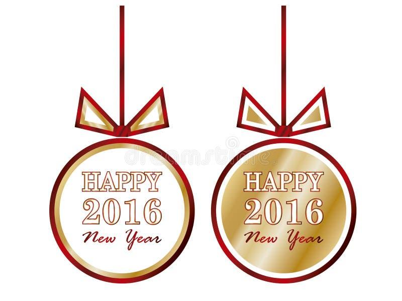 Lyckliga 2016 xmas-bollar för nytt år, vektor royaltyfri illustrationer