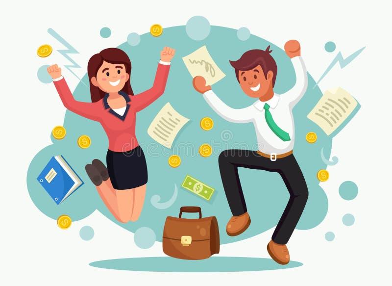 Lyckligt affärsfolk som hoppar för glädje Le mannen och kvinnan i dräkten som isoleras på bakgrund Anställd firar framgång, seger vektor illustrationer
