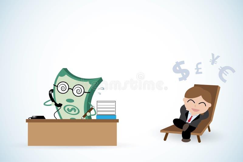 Lyckligt affärsman- och pengararbete, passiv inkomst och affärsidé vektor illustrationer