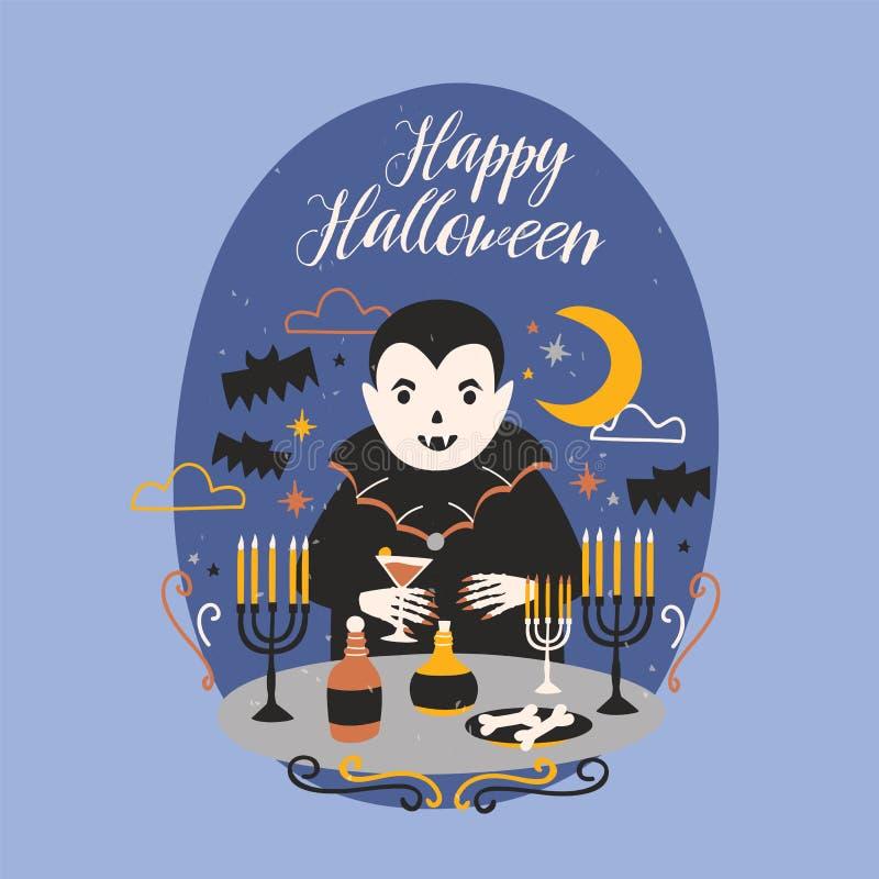 Lyckligt allhelgonaaftonbaner med det roliga le Dracula eller vampyranseendet på tabellen med stearinljus i ljusstakar och inneha royaltyfri illustrationer