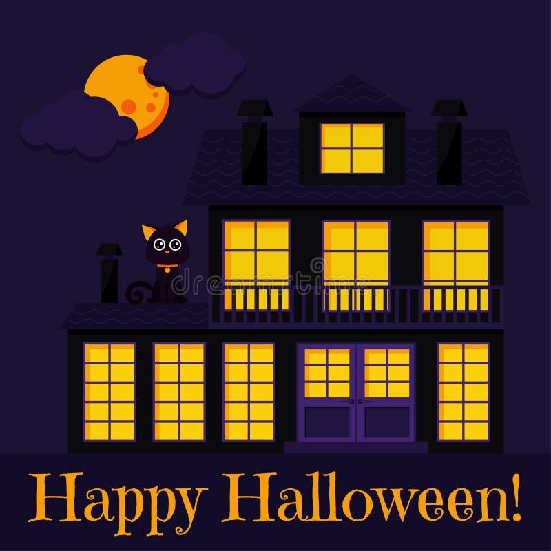 Lyckligt allhelgonaaftonhälsningkort med katten, spökat dystert hus med tända fönster och lampglas royaltyfri illustrationer