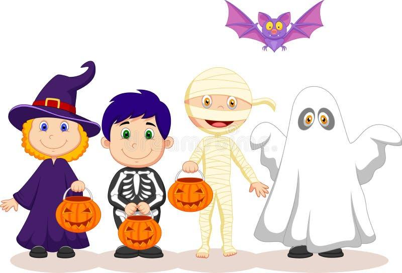 Lyckligt allhelgonaaftonparti för tecknad film med barntrick eller behandling stock illustrationer