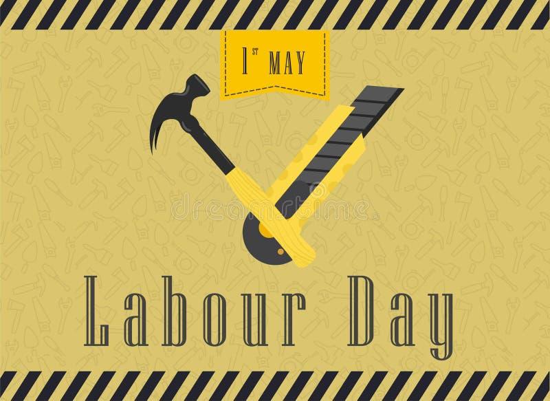 Lyckligt arbeta dagberöm Lyckligt arbeta dagvykort- eller affisch- eller reklambladmallen Lyckligt arbeta dagdesignen, vektorillu stock illustrationer