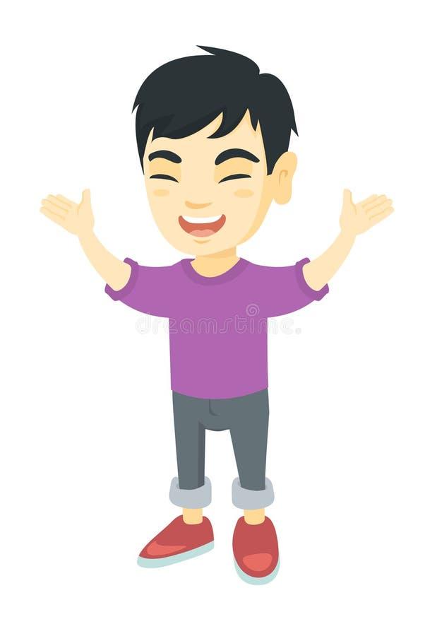 Lyckligt asiatiskt pojkeanseende med lyftta händer stock illustrationer